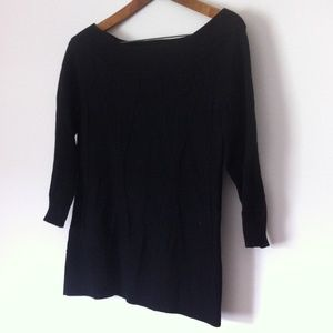 WHBM Black Long Sweater Cable Knit